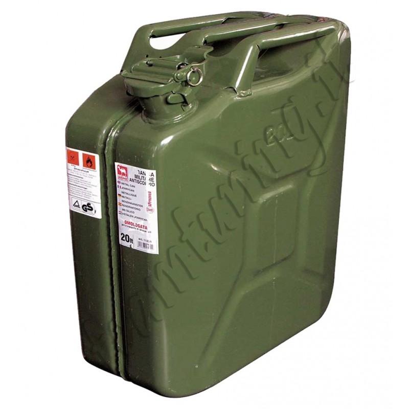 Tanica carburante lt.20 in metallo tipo militare idrocarburi omologata UNI 11231