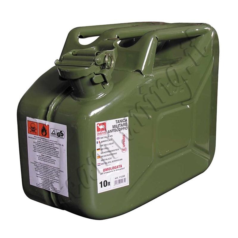 8010634043610,Tanica carburante lt.10 in metallo tipo militare idrocarburi omologata UNI 11232 GEV