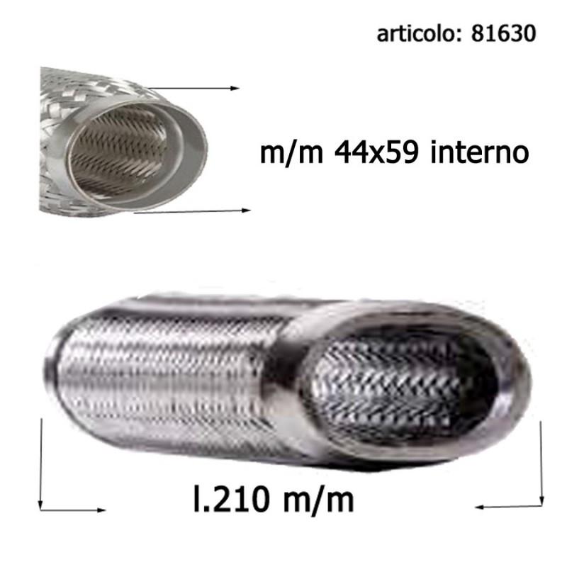 flessibile ovale marmitte rinforzato con maglia acciaio 120 mm diametro interno 44 mm 59 mm