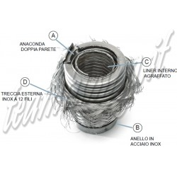 flessibile ovale marmitte rinforzato con maglia acciaio 210 mm diametro interno 44 mm 59 mm