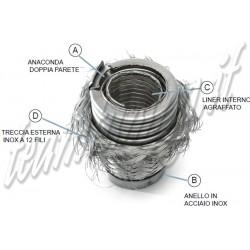 flessibile per marmitte a manicotto femmina rinforzato con maglia acciaio 347 mm diametro interno 35,5 mm