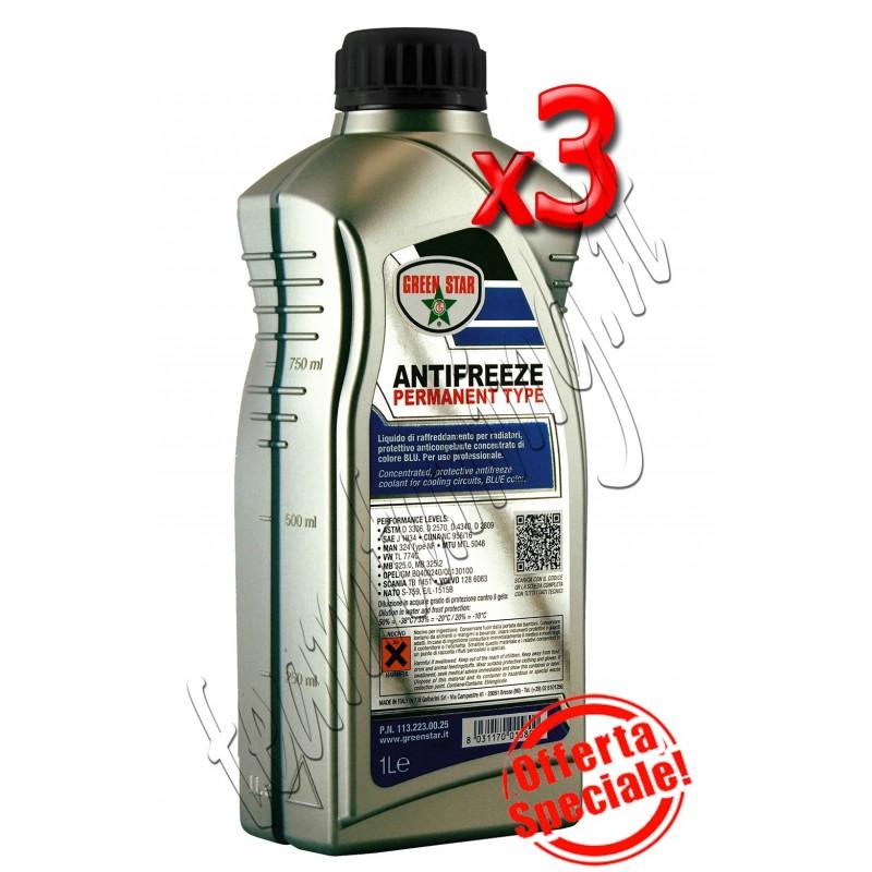 3 litri antifreeze motore permanent colore blù per auto liquido antigelo permanente puro Green Star