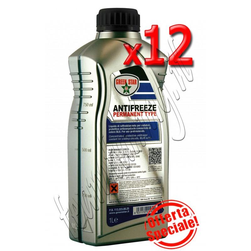 12 litri antifreeze motore permanent colore blù per auto liquido antigelo permanente puro Green Star
