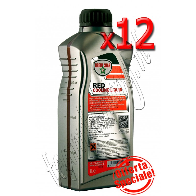 12 litri antifreeze motore Vw Audi Seat colore rosso  RED G12 per motori in alluminio Green Star