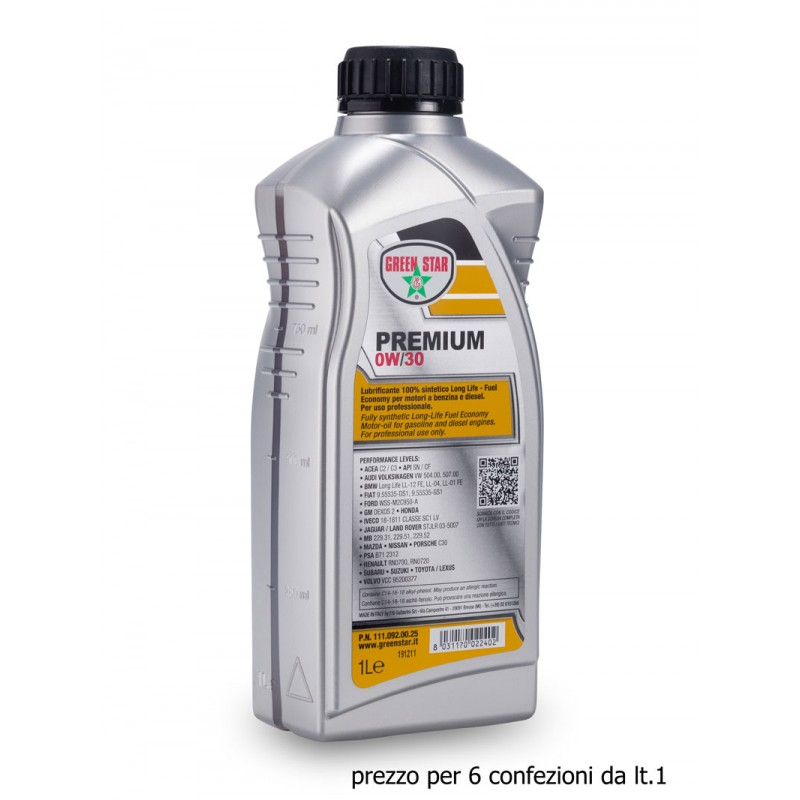 0w30 LT.6 Lubrificante 100% sintetico Long Life per motori a benzina e diesel ACEA C2/C3  API SN/CF VW 504.00/507.00