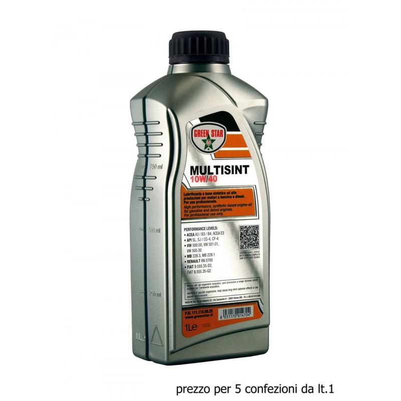 10w40 Multisint 5x1 litri olio motore Green Star VW500.00 VW501.01 VW505.00 MB228.3 MB229.1 FIAT 9.555.35-D2 9.555.35-G2 RN0700