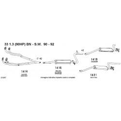 Alfa 33 13 90HP BN dal 90 al 92 Marmitta posteriore 50030030-50030033-60504353-60504365-60538288