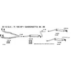 Alfa 33 15 QV TI 105HP BN 84-89 Marmitta posteriore 96585935